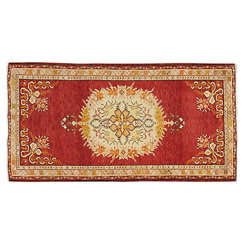 Turkish Sunburst Oushak Rug 3'2 x 6'2