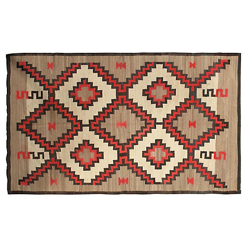 "Navajo-Style Flat-Weave Rug, 4'5"" x 7'2"""