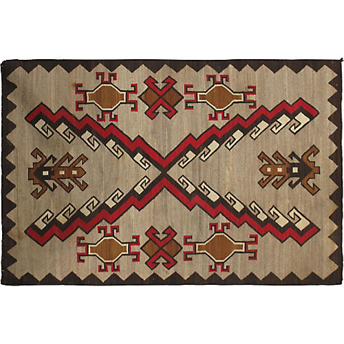 "Navajo Flat-Weave Rug, 4' x 6'2"""