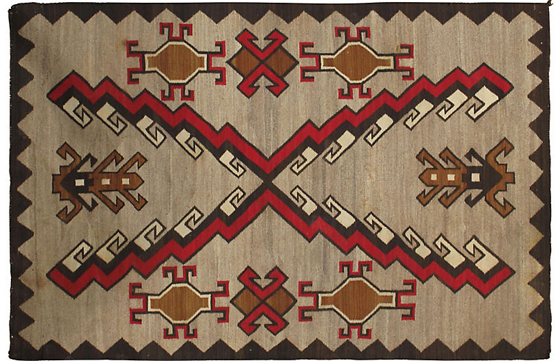 Navajo Flat-Weave Rug, 4' x 6'2