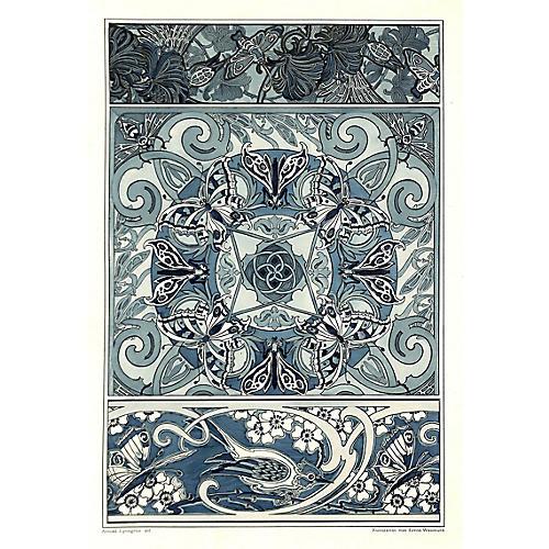 Art Nouveau Design Sheet, Birds & Bees