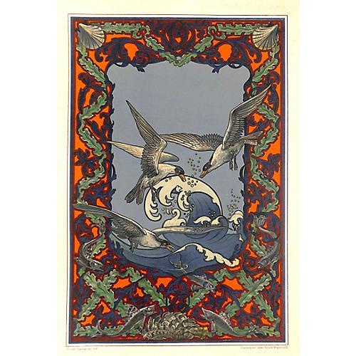 Art Nouveau Design Sheet, Terns & Fish