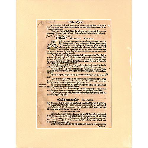 Unicorn Woodcut, 1569