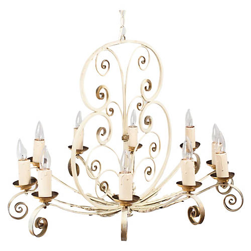 1940s French Painted Metal Chandelier
