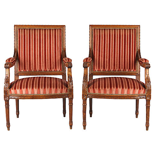 French Louis XVI-Style Armchairs, Pair