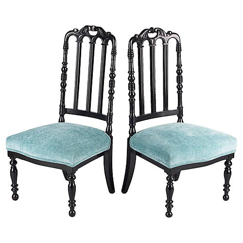 Napoleon III-Style Ebonized Chairs, Pair