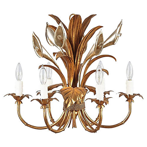 1950s French Gilt-Metal Chandelier