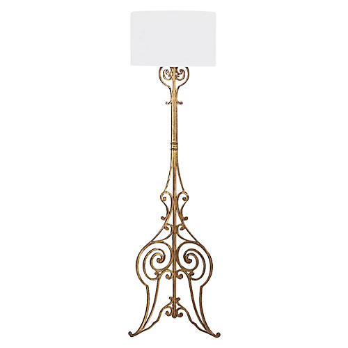 French Gilded Wrought Iron Floor Lamp