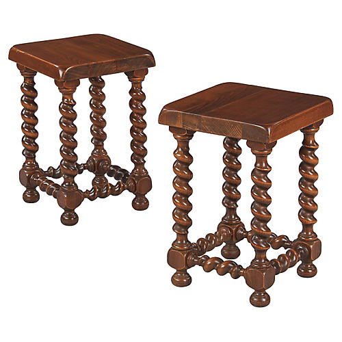 Pair of French Oak Stools, 1960s