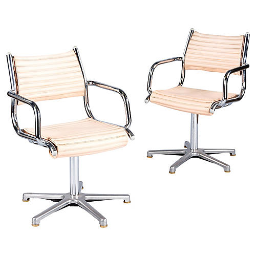 Pair of 1970's Chrome Armchairs by Olymp