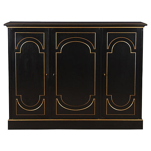 French Neocalssical Ebony Cabinet, 1950s