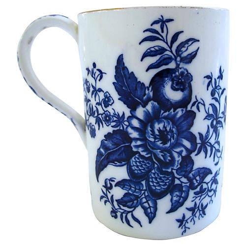 18th-C. Worcester Pinecone Pattern Mug