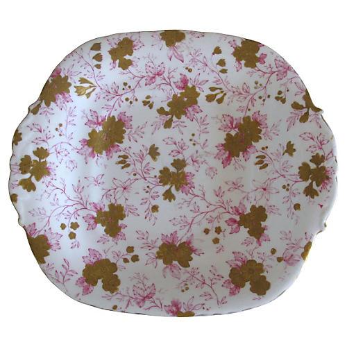 Antique Gilded Porcelain Davenport Plate