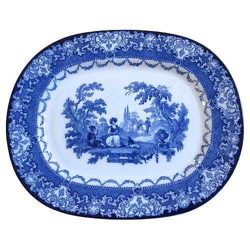 Antique Flow Blue Doulton Platter
