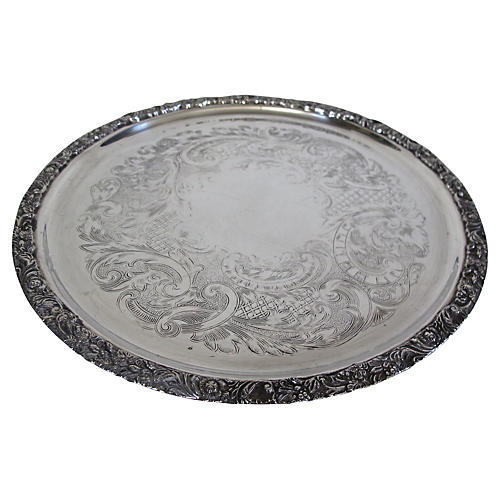 English Silver-Plate Victorian Tray