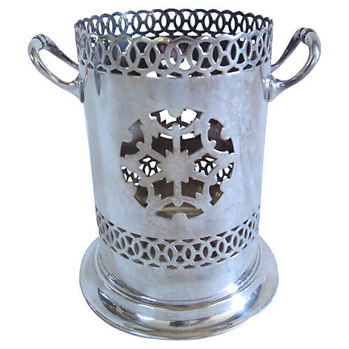 English Silverplate Wine Caddy