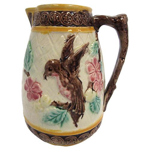 Antique Majolica Hummingbird Jug