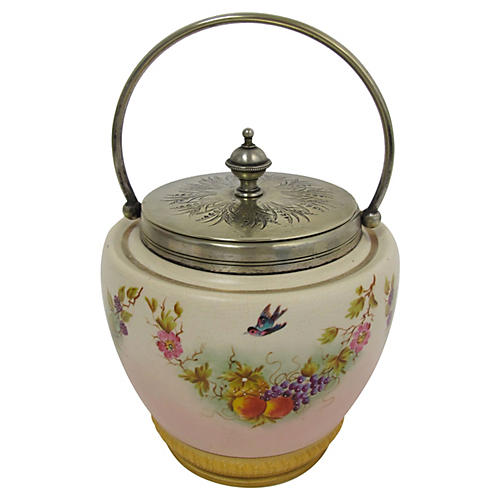 Hand-Painted Porcelain Biscuit Barrel