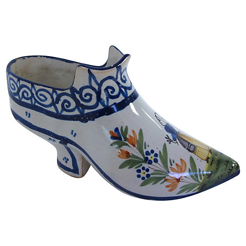 Antique Quimper French Faience Boot