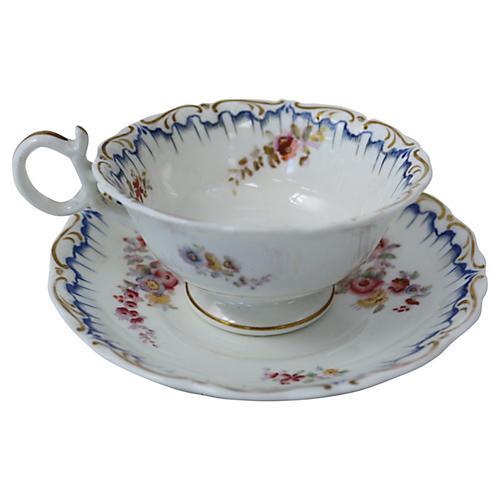 1820s English Porcelain Cup & Saucer