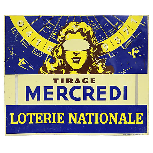 French Tin Lottery Sign