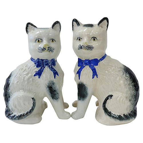 Antique Staffordshire Cats, Pair