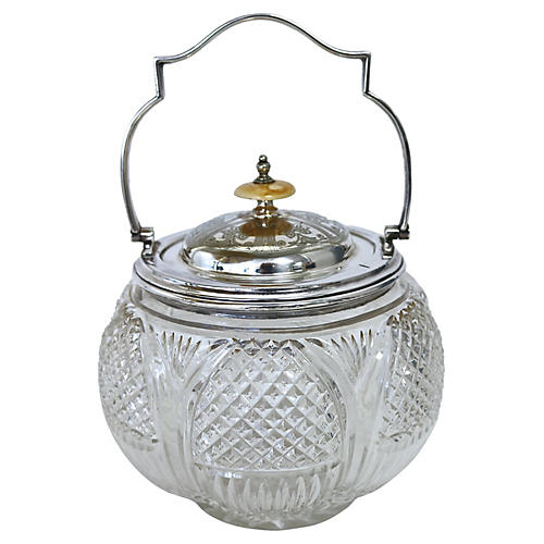 Walker & Hall Cut Crystal Biscuit Jar