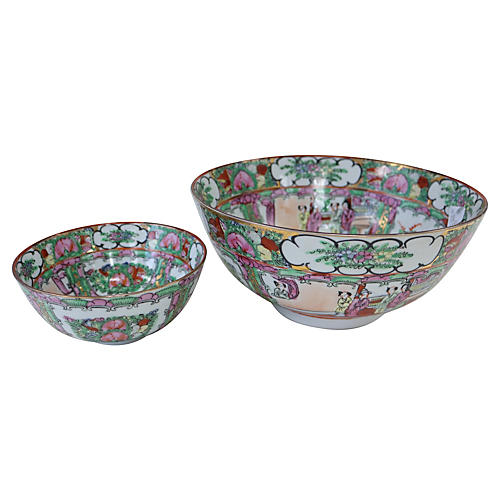 Hand-Painted Chinese Porcelain Bowls S/2