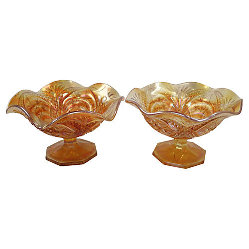English Carnival Glass Dishes, Pair