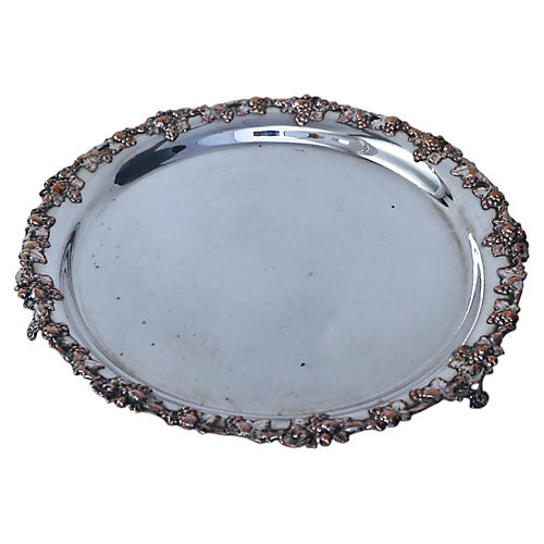 English Silver-Plate Footed Tray