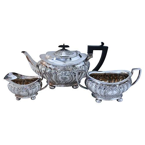 Silver-Plate &Ebony Tea Set, 3 Pcs