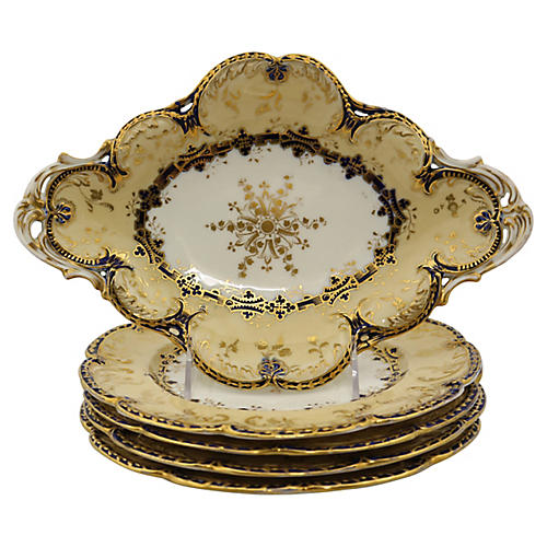 Victorian Gilded Plates, 5-Pcs