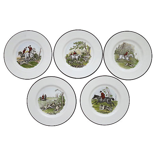 Staffordshire Hunt Dinner Plates, S/5