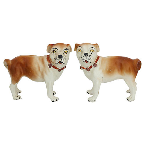 Antique Staffordshire Pug Dogs