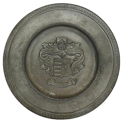 English Pewter Crested Wall Plate