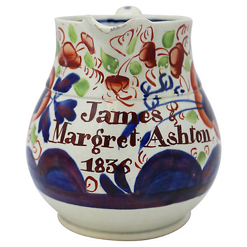 Antique Gaudy Welsh Marriage Jug