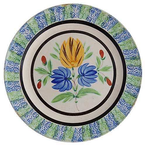 English Spongeware Floral Wall Plate