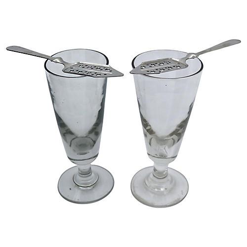 Antique Absinthe Glasses & Spoon, Pair