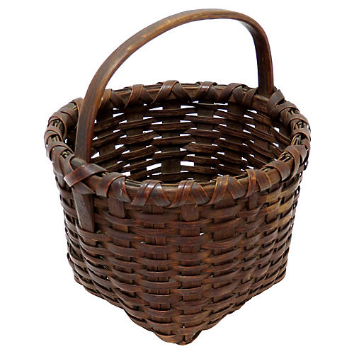 Antique Primitive Splint Basket