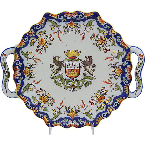 Antique French Faience Coat of Arms Dish