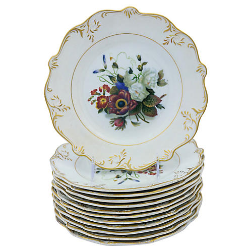 1840s English Floral Plates, S/12