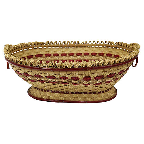 Antique French Handwoven Bread Basket