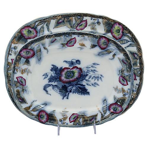 Antique Davenport Flow Blue Platters,S/2
