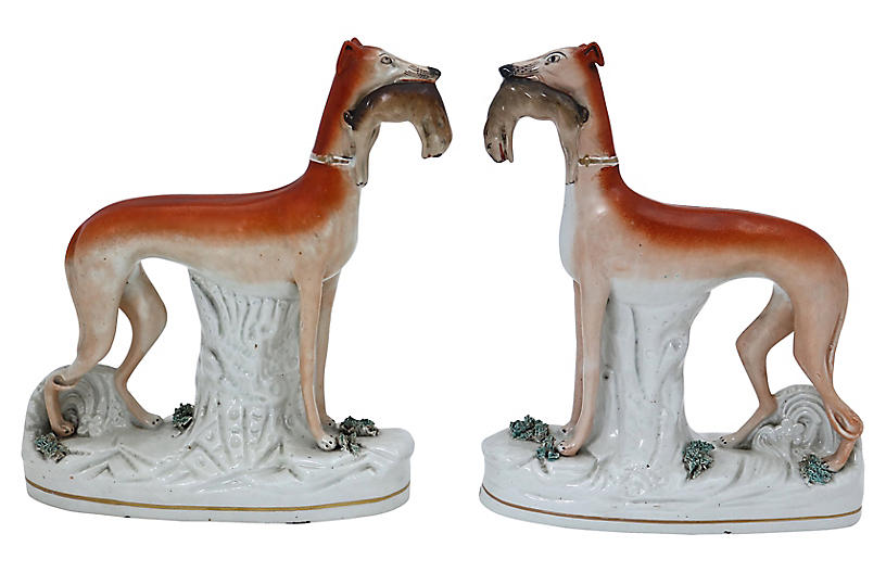Staffordshire Whippet Hunting Dogs, Pair