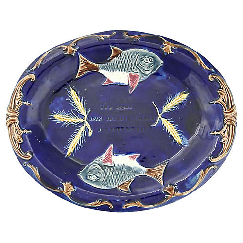 Antique Majolica Serving Plate w/ Fish