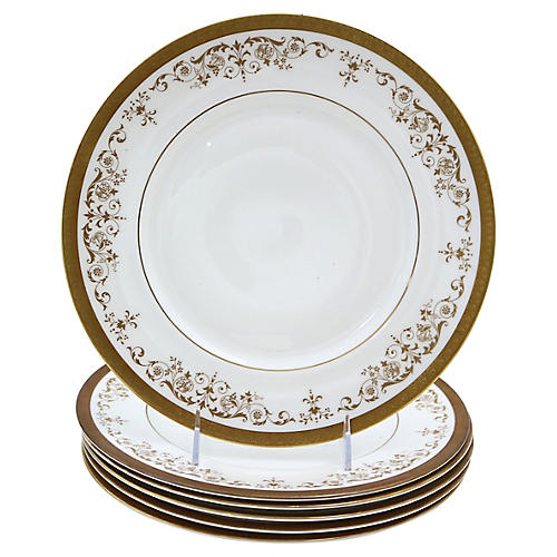 Royal Doulton Gilded Dinner Plates, S/6