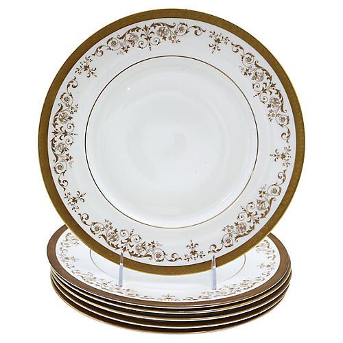 Royal Doulton Gilded Dinner Plates, S/6