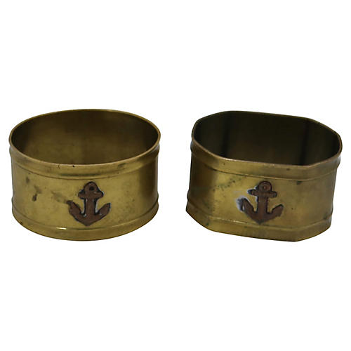 French Brass Nautical Napkin Rings, S/2