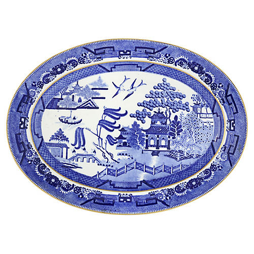 Antique English Willow Porcelain Platter