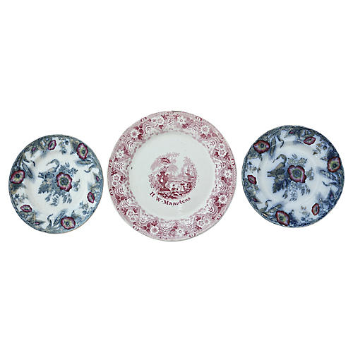 Antique English Wall Plate Group, 3 Pcs